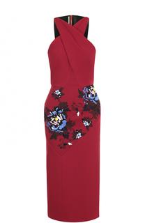 Платье-футляр с цветочной вышивкой Roland Mouret