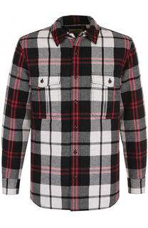 Рубашка в клетку из смеси шерсти и хлопка Burberry