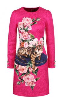Приталенное платье-миди с принтом Dolce & Gabbana