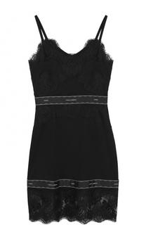 Приталенное мини-платье с кружевной отделкой Dolce & Gabbana