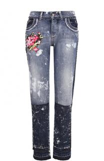 Джинсы прямого кроя с потертостями и вышивкой Dolce & Gabbana