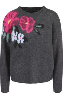 Шерстяной пуловер с цветочным принтом Tara Jarmon