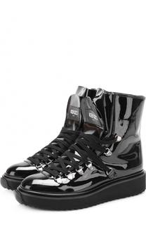 Лаковые ботинки на контрастной подошве Kenzo