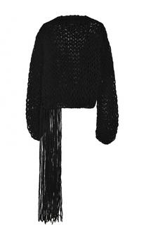 Шерстяной пуловер фактурной вязки с бахромой Isabel Benenato
