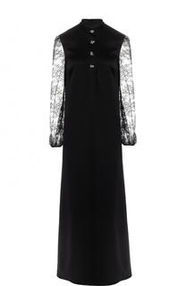 Платье-макси с высоким разрезом и кружевными рукавами Lanvin