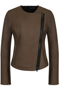 Кожаная куртка с комой молнией и круглым вырезом Isabel Benenato