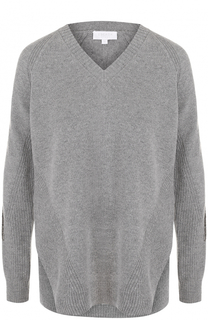 Шерстяной пуловер с V-образным вырезом и пайетками Escada Sport