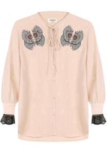 Шелковая блуза с укороченным рукавом и вышивкой Zadig&Voltaire Zadig&Voltaire