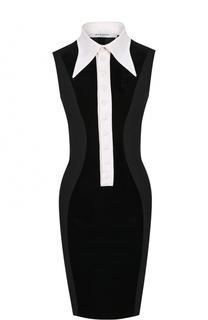 Платье-футляр с бархатной отделкой и контрастным воротником Givenchy