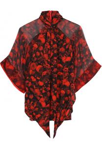 Шелковая полупрозрачная блуза с принтом Givenchy
