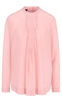 Шелковая блуза с воротником-стойкой и драпировкой Escada