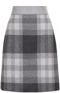 Шерстяная мини-юбка в клетку Escada Sport