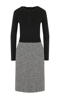 Приталенное платье-миди с контрастной юбкой Escada