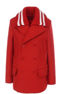 Укороченное двубортное пальто прямого кроя Givenchy