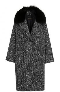 Шерстяное пальто свободного кроя с отделкой из меха лисы Escada