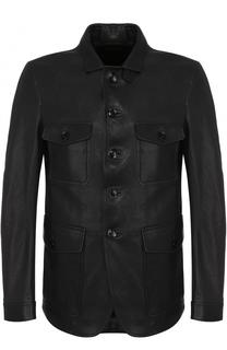Однобортный кожаный пиджак Tom Ford