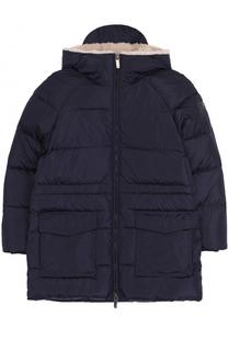 Пуховая стеганая куртка с воротником-стойкой и капюшоном Il Gufo