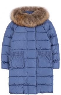 Пуховое пальто с капюшоном и меховой отделкой Il Gufo