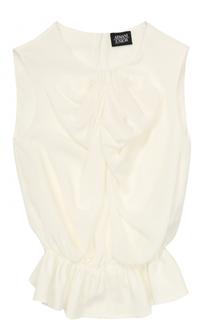 Шелковая блуза с оборками Armani Junior