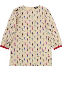 Платье из вискозы с принтом Armani Junior