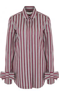 Хлопковая блуза в полоску с бантами на рукавах Victoria by Victoria Beckham