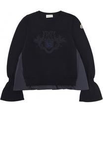 Шерстяной свитер с фактурной отделкой Moncler Enfant