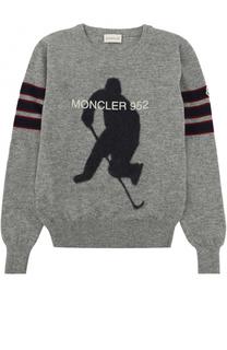 Шерстяной свитер с принтом Moncler Enfant