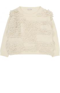 Шерстяной пуловер с декоративной отделкой Il Gufo
