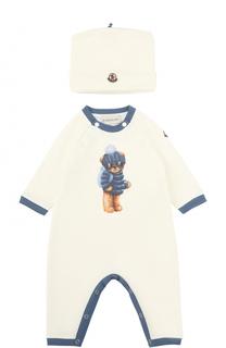 Хлопковый комбинезон с принтом и шапкой Moncler Enfant