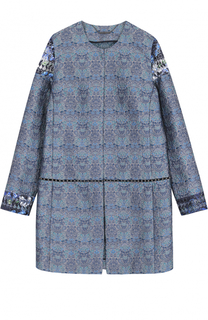 Жаккардовое пальто прямого кроя с круглым вырезом Elie Tahari