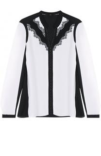 Шелковая блуза с контрастной кружевной отделкой Elie Tahari