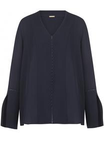 Шелковая блуза с V-образным вырезом Elie Tahari