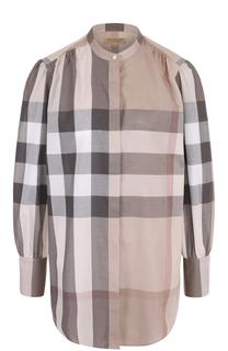 Хлопковая блуза в клетку с воротником-стойкой Burberry