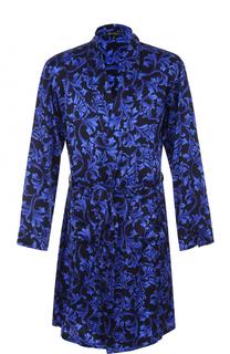 Шелковый халат с поясом и шалевым воротником Versace
