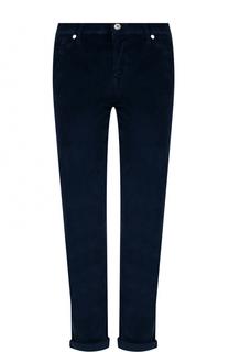 Вельветовые брюки прямого кроя с отворотами 7 For All Mankind