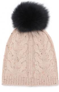 Шерстяная шапка фактурной вязки с помпоном Yves Salomon Enfant