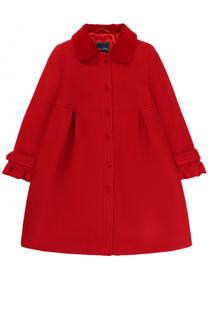 Однобортное шерстяное пальто с защипами и оборками Oscar de la Renta