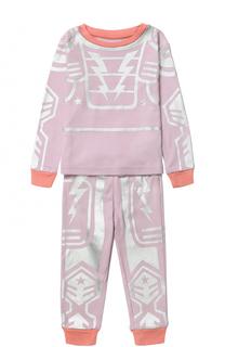 Хлопковая пижама с металлизированным принтом Stella McCartney
