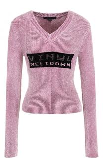 Приталенный бархатный пуловер с V-образным вырезом Alexander Wang