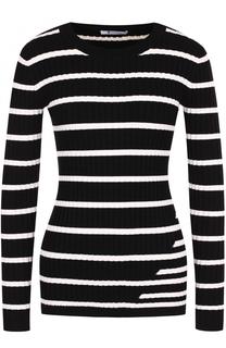 Облегающий пуловер фактурной вязки в полоску T by Alexander Wang
