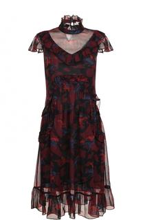 Платье-миди с цветочным принтом и оборками Coach