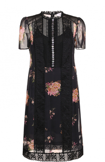 Платье-миди с цветочным принтом и кружевными вставками Coach