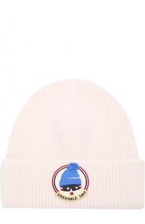 Шерстяная шапка фактурной вязки с нашивкой Moncler