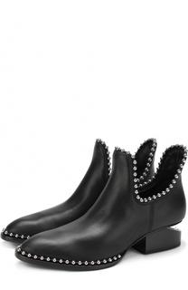 Кожаные ботинки с металлической отделкой на фигурном каблуке Alexander Wang