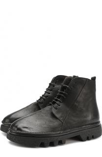 Высокие кожаные ботинки на шнуровке с молнией Marsell