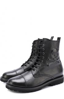 Высокие кожаные ботинки на шнуровке Philipp Plein