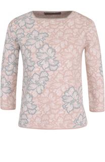 Шерстяной пуловер с укороченным рукавом и цветочным принтом D.Exterior