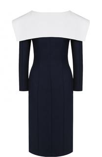 Платье с V-образным вырезом на спинке и контрастным кейпом Jacquemus