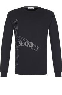 Хлопковый лонгслив с принтом Stone Island
