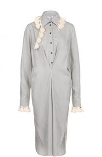 Шелковое платье-рубашка в полоску с бахромой Loewe